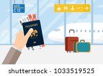 man hold passport and boarding... | Shutterstock .eps vector #1033519525