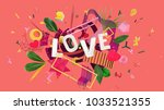 bright and colorful card for... | Shutterstock . vector #1033521355