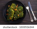 savoy cabbage rolls with meat ... | Shutterstock . vector #1033526344