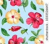 watercolor seamless tropical... | Shutterstock . vector #1033526647