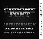 chrome effect alphabet font.... | Shutterstock .eps vector #1033527754