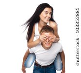 happy young couple relaxing... | Shutterstock . vector #103352885