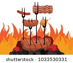grilled barbecue beef steak... | Shutterstock .eps vector #1033530331
