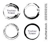 set of grunge ink circle frames....   Shutterstock .eps vector #1033533151
