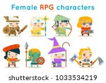 cute female rpg characters... | Shutterstock .eps vector #1033534219