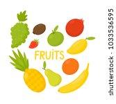 fruits   apple  banana  pear ... | Shutterstock .eps vector #1033536595