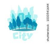urban landscape in flat style.... | Shutterstock .eps vector #1033541644