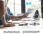 teamwork and success concept ... | Shutterstock . vector #1033542649