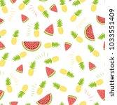 pineapple watermelon simple... | Shutterstock .eps vector #1033551409