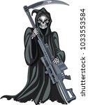 grim reaper holding sniper rifle | Shutterstock .eps vector #1033553584