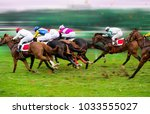 Stock photo race horses with jockeys on the home straight shaving effect 1033555027