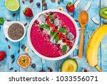 smoothie bowl with fresh... | Shutterstock . vector #1033556071