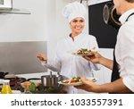 portrait of diligent  smiling... | Shutterstock . vector #1033557391