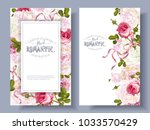 Stock vector vector vintage floral banners with peony hydrangea rose flowers and ribbon romantic design for 1033570429