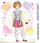 attractive young red haired... | Shutterstock .eps vector #1033572697