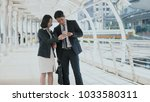 the businessman and pretty...   Shutterstock . vector #1033580311