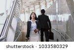 asian young woman walks along a ...   Shutterstock . vector #1033580329