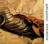 coins of euro cents and two... | Shutterstock . vector #1033591609