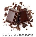 two pieces of dark chocolate... | Shutterstock . vector #1033594357
