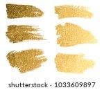 gold paint smear stroke stain... | Shutterstock . vector #1033609897