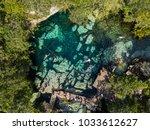 cenote azul in the jungle... | Shutterstock . vector #1033612627