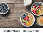 homemade granola and healthy... | Shutterstock . vector #1033624201