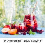 refreshing sangria or punch... | Shutterstock . vector #1033625245