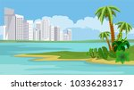 white buildings of big resort... | Shutterstock .eps vector #1033628317