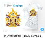 funny skeleton skater. print on ... | Shutterstock .eps vector #1033629691