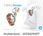 funny skeleton skater. print on ... | Shutterstock .eps vector #1033629697