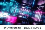 3d render, abstract urban background, futuristic pink blue neon light, geometric structure, big data, quantum computer, storage, cyber safety, virtual reality - stock photo