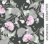 seamless peony pattern with... | Shutterstock . vector #1033647505