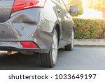 car a broken rear bumper ... | Shutterstock . vector #1033649197