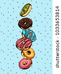 hand drawn vector donuts poster ... | Shutterstock .eps vector #1033653814
