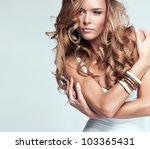 portrait of beautiful blonde... | Shutterstock . vector #103365431