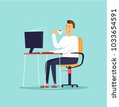 businessman drinks coffee.... | Shutterstock .eps vector #1033654591