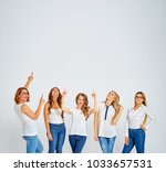 your tex here. group of amazed... | Shutterstock . vector #1033657531