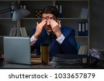 businessman tired and sleeping... | Shutterstock . vector #1033657879