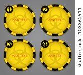 One, Two, Three, Four Bio hazard Circular Warning Labels - stock vector