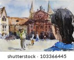 Watercolour Of Old City Of...
