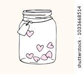 jar with hearts  doodle sketch   Shutterstock .eps vector #1033668514