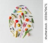 easter egg shape made of...   Shutterstock . vector #1033670671