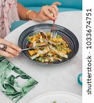 fresh vegetable salad with...   Shutterstock . vector #1033674751
