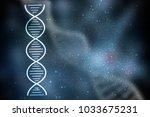 2d render of dna structure ... | Shutterstock . vector #1033675231