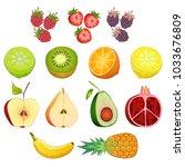 fruit and berries on white... | Shutterstock .eps vector #1033676809