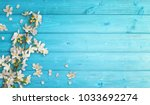 flowering branches on cyan wood | Shutterstock . vector #1033692274