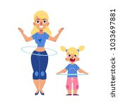 vector flat young blonde girl... | Shutterstock .eps vector #1033697881