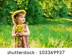 Sweet Toddler Girl With Floral...