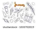fashion  vector stickers ... | Shutterstock .eps vector #1033702015
