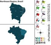 vector set of northeast region... | Shutterstock .eps vector #1033703131